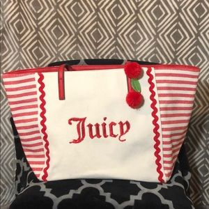 Juicy Couture Red Striped Cabana Tote w/ Wristlet